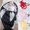 New Cartoon Cute Shark Blanket Newborn Wrap Winter Strollers Bed Swaddle Shark Sleeping Bag Manta Bebe Recien Nacido Sleepsacks