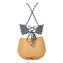 Stripe Halter Top High Waist Bathing Suit