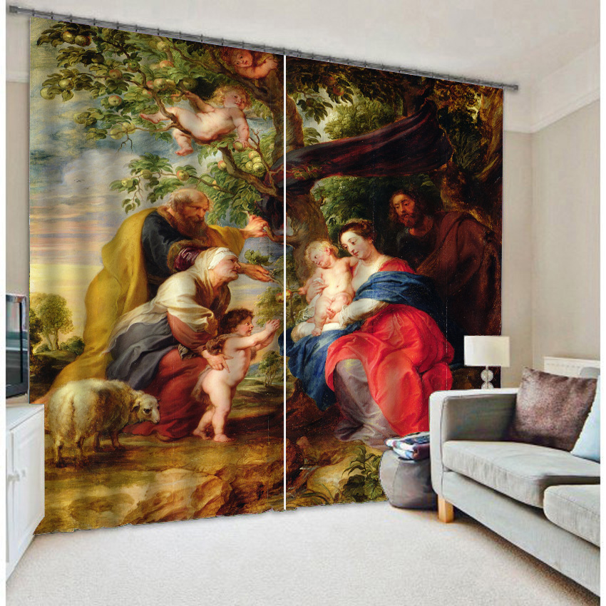 The Virgin Mary 3d digital photo printing blackout curtainsThe Virgin Mary 3d digital photo printing blackout curtains