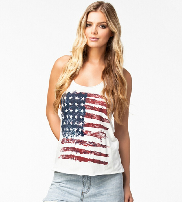 36ba1895555f High Street USA Flag Printed New Fashion 2015 Summer Style Sleeve Off  Shoulder Vintage Tank Tops Plus Size Women Top Fitness-in Tank Tops from  Women s ...