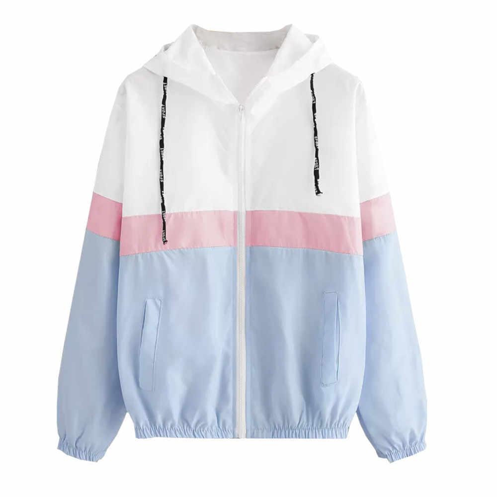 2018 áo khoác phụ nữ Dài Tay Áo Chắp Vá Mỏng Trùm Đầu Dây Kéo Túi Áo Khoác nữ chaqueta mujer
