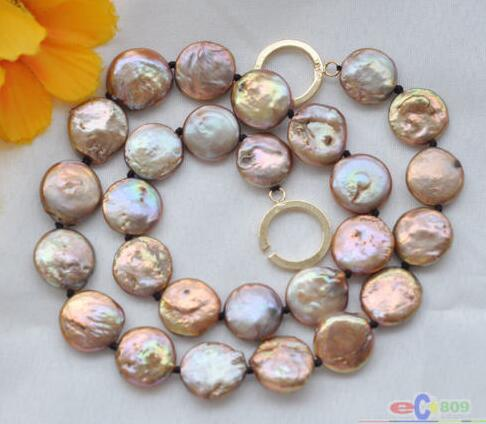 Hitches Sales Free Shipping ****** 17 14mm Coffee Coin Freshwater Cultured Pearl Necklace