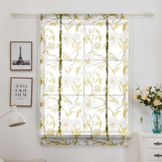 Printed Curtains Windows Kitchen Tree Birds Floral Print Sheer For Home 1 Tulle Balcony Curtain