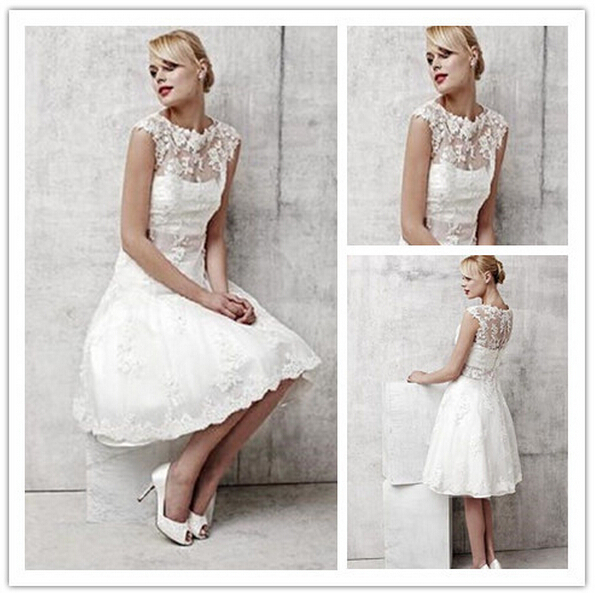 Cheep Goods 2015 Beach Scoop Cap Sleeve White Lace Satin Knee Length Appliques Bridal Dresses Gown