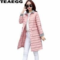 TEAEGG Casual Women Jacket Winter 2017 Pink Turn Down Collar White Down Jacket Woman Coat Famale Plus Size 4XL Parka Mujer AL437
