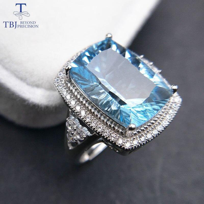 TBJ Big cushion cut 10 14mm concave cut blue topaz gemstone Ring in 925 sterling silver