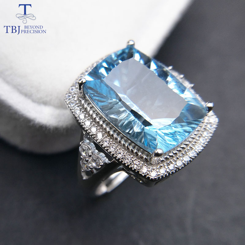 TBJ,Big cushion cut 10*14mm concave cut blue topaz gemstone Ring in 925 sterling silver fine jewelry for unisex with gift box