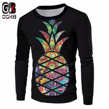 OGKB Unisex Hiphop O-neck Pullovers Autumn Winter Casual Loose Sweatshirt Cool Print Pineapple Hoodies Black Long Sleeve Coats(China)