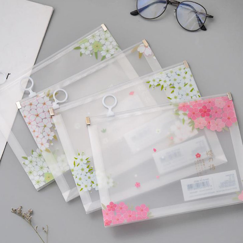 1 Pcs Lovely A5 Beautiful Cherry Sakura PP Document Bags File Folder Stationery Storage Organizer Zipper Bags Filing Products