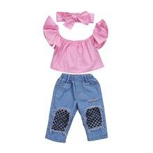 Pudcoco Hot Toddler Kids Girls Off Shoulder Vest Tank Tops + Ripped Denim Jeans Pants + Headbands Outfits Set