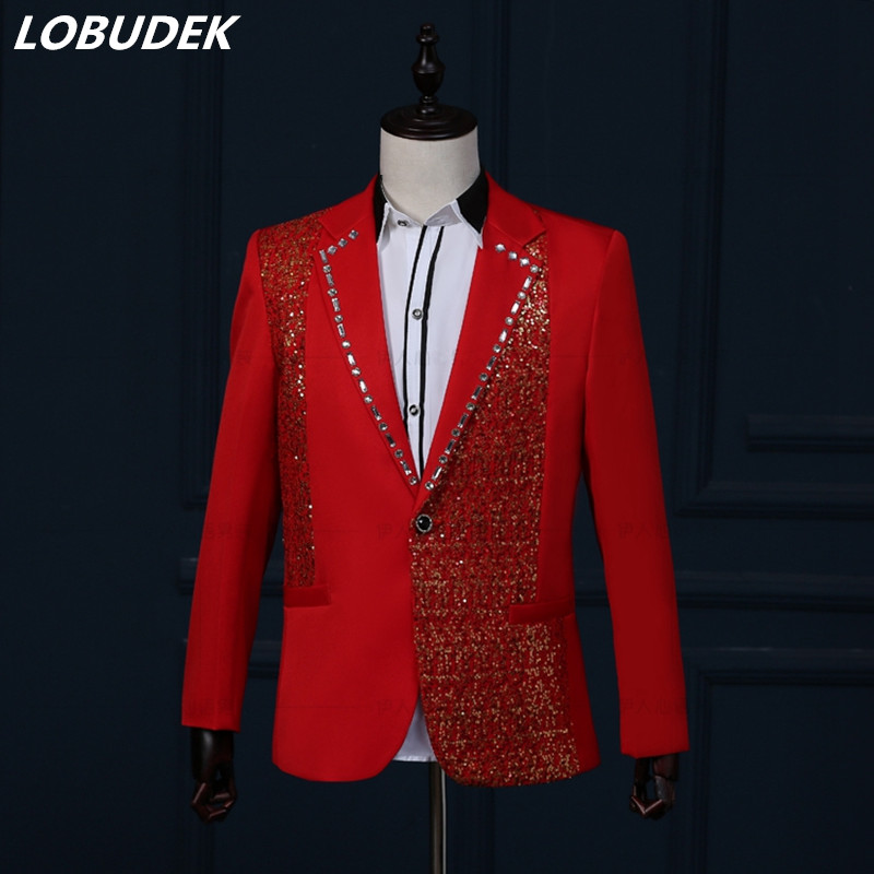 Men Shining Sequins Suits Red Blue Black White Rhinestones Blazers Coat Wedding MC Outfit Bar Host Stage Chorus Show Costume