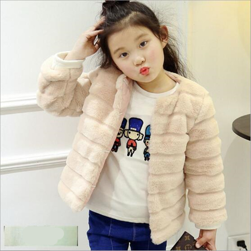 Clobee Children Jacket Thick Warm Faux Fur Coat Kid Winter For Girl Autumn Short Soft Plush Fur Long Sleeve Infant OuterwearN222