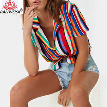 Blouse Women 2019 Summer Short Sleeve Chiffon Blouse Shirt Striped Turn Down Collar Office Shirt Casual Tops Plus Size Blusas(China)