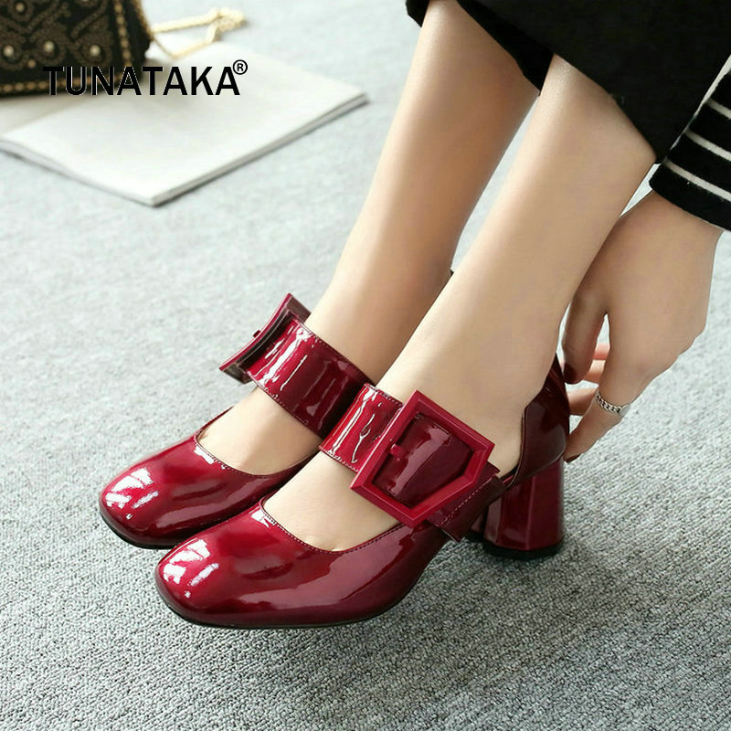 Genuine Leather Comfort Thick Heel Square Toe Woman Pumps Fashion Buckle Dress High Heel Shoes Woman Black Wine Red Yellow woman comfort sqaure heel fur genuine leather pumps fashion pointed toe dress lazy high heel shoes woman black wine red