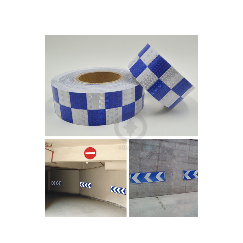 5cmx3m Shining Blue White Color Square Self-Adhesive Reflective Warning Tape For Car& Motorcycle