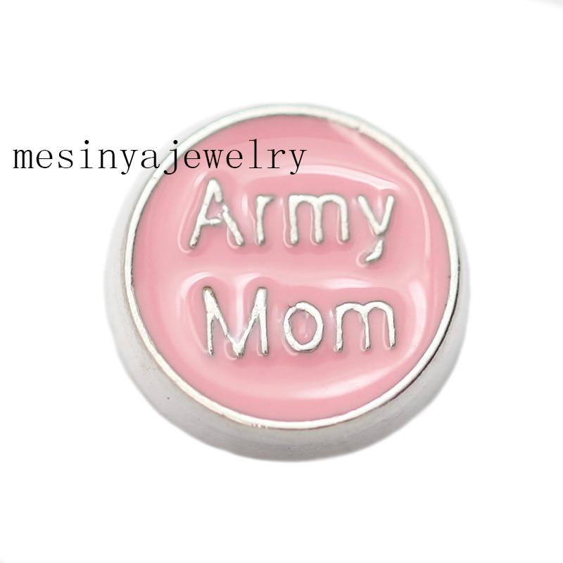 5122196287 10 unids ejército mamá encantos flotantes para el Locket de cristal  cantidad mínima $15 por los artículos mezclados Orden, ...