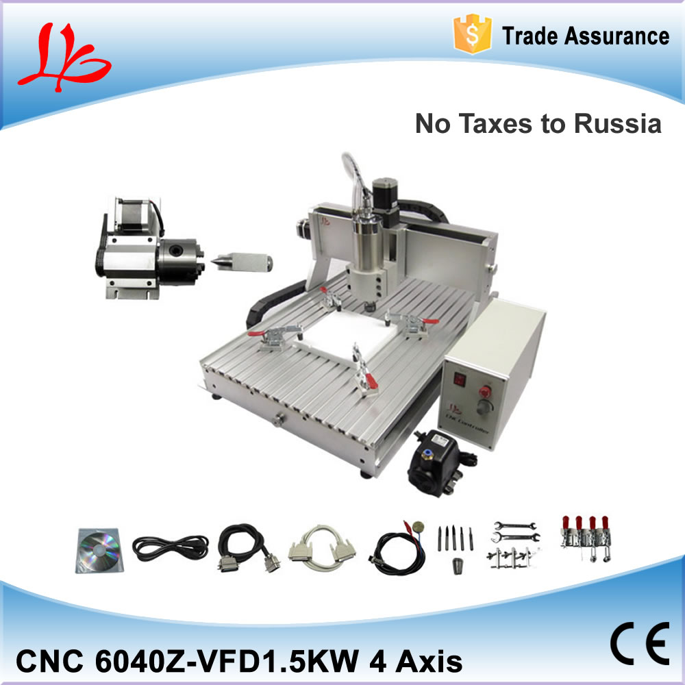 NO TAX to Russia Ukraine, CNC Milling Machine 4 axis CNC Router 6040 with 1.5KW Spindle for Stone Metal Wood Sculpture Cutting russia no tax 1500w 5 axis cnc wood carving machine precision ball screw cnc router 3040 milling machine