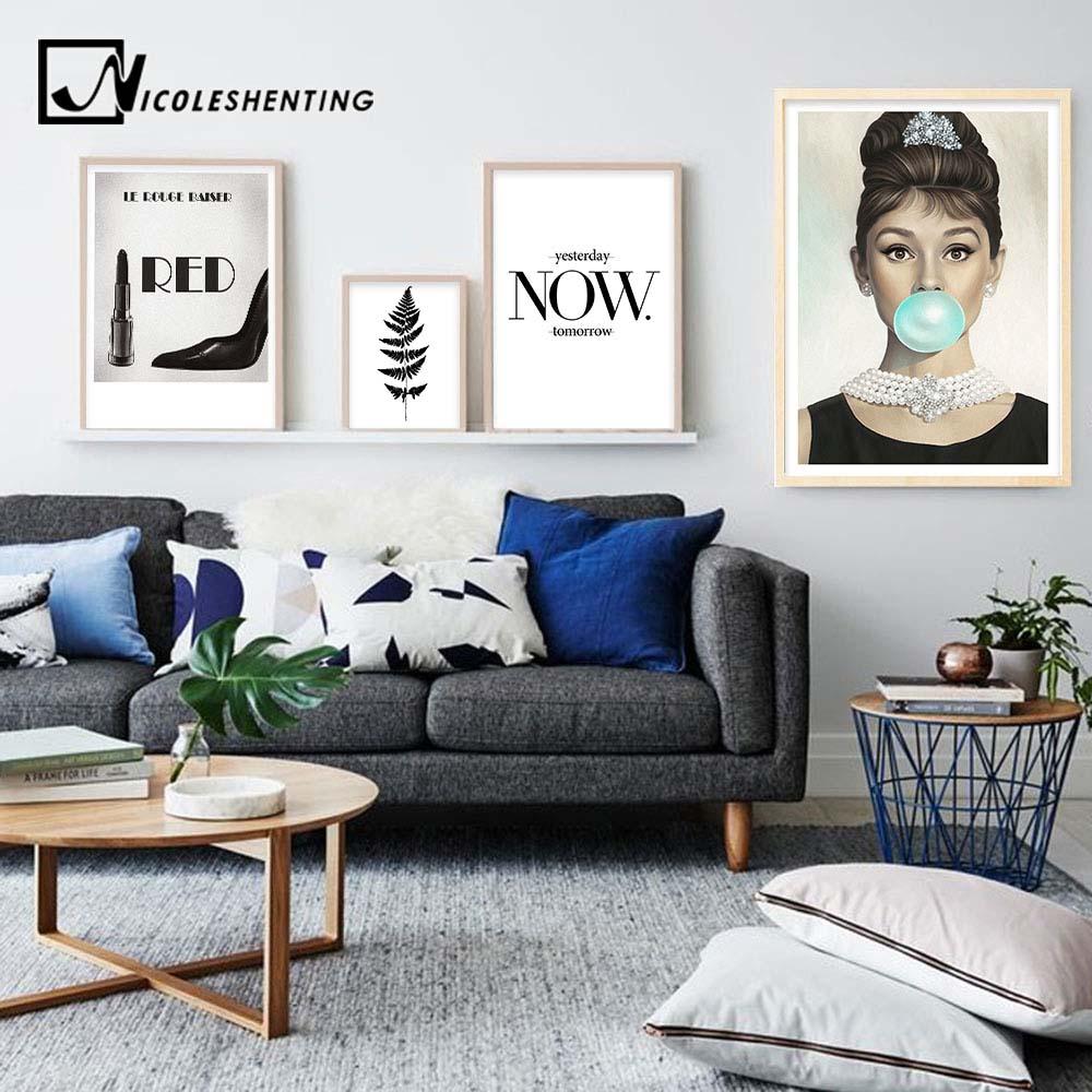 Audrey Hepburn Blasen Wand Kunst Leinwand Mode Poster Schwarz Weiß