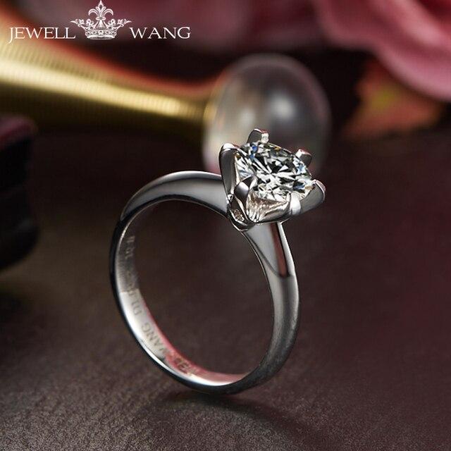 Jewellwang Moissanite Stone Rings for Women 18K White Gold Classic Engagement Ring Meet Love 1.00 Carat Certified Wedding Luxury