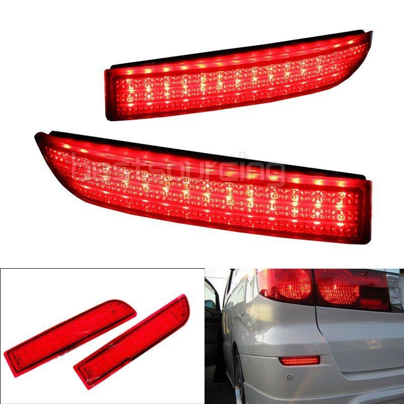 2x Black Smoked Lens Rear Bumper Reflector LED Fog Tail Stop Brake Light DRL For Alphard Avensis Previa RAV4 Vanguard