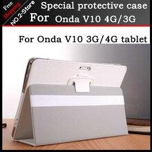 Nuevo 2 plegable Folio PU soporte de cuero del caso Para Onda V10 3G/4G llamada de teléfono de 10.1 pulgadas tablet pc, color blanco y negro + regalo