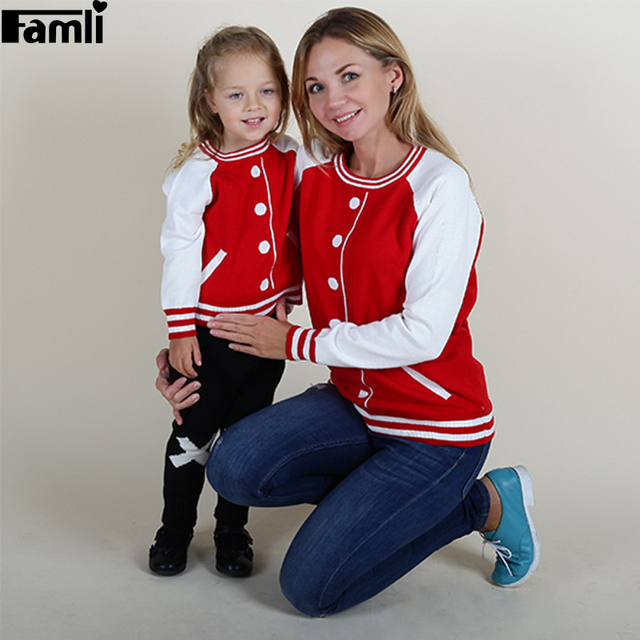 Famli 1pc Retail Mom Baby Sweaters Autumn Winter Fashion Family Mother Daughter Girls Matching Striped Sweater