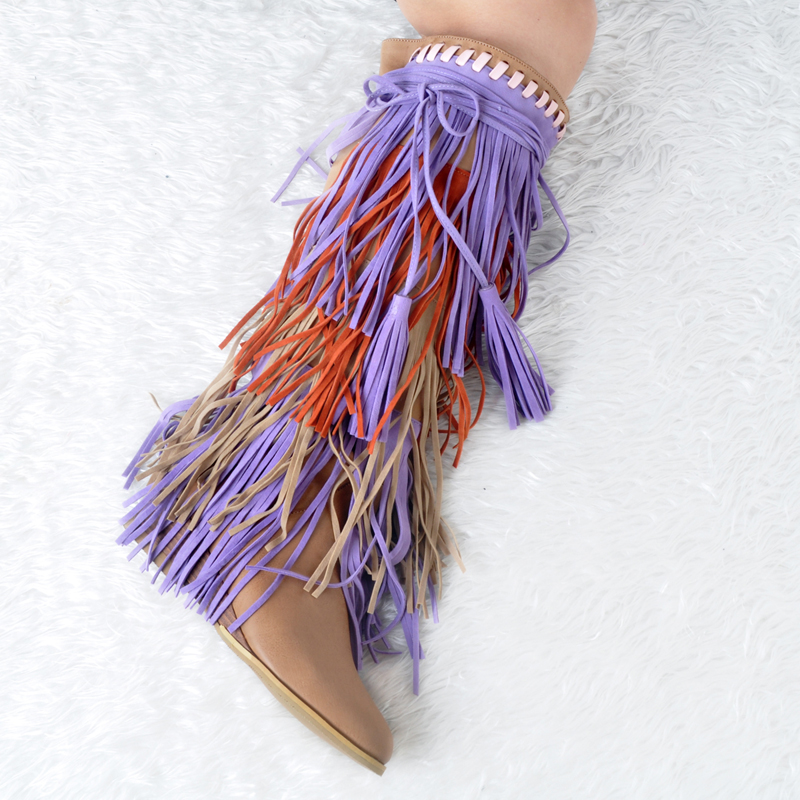 New Women Tassel Decorated Wedges Boots Slip on Fringed Women Knee High Boots Mixed Colors Med Heels Shoes Woman Botas Mujer