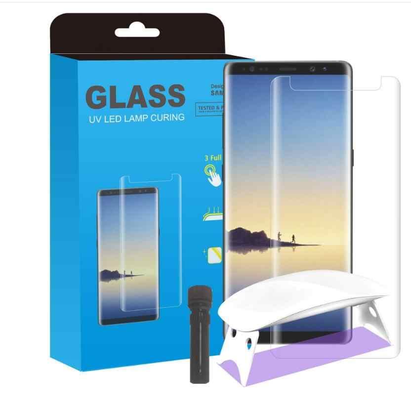 Baru Lem UV Pelindung Layar untuk Samsung Galaxy S7 Edge S8 S9 + PLUS Note8 Catatan 9 Tempered Glass Full cover 1 Sinar Ultraviolet