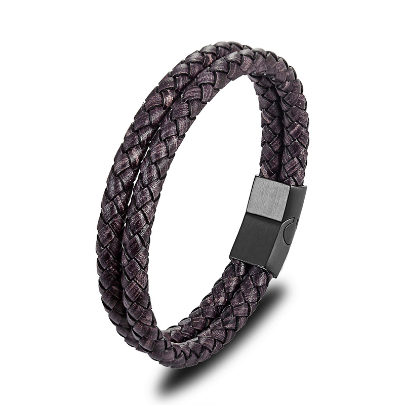 Retro Top Layer Leather Bracelet Stainless Steel Leather Men's Bracelet Men's Woven Leather Bracelet Men's Jewelry Gift