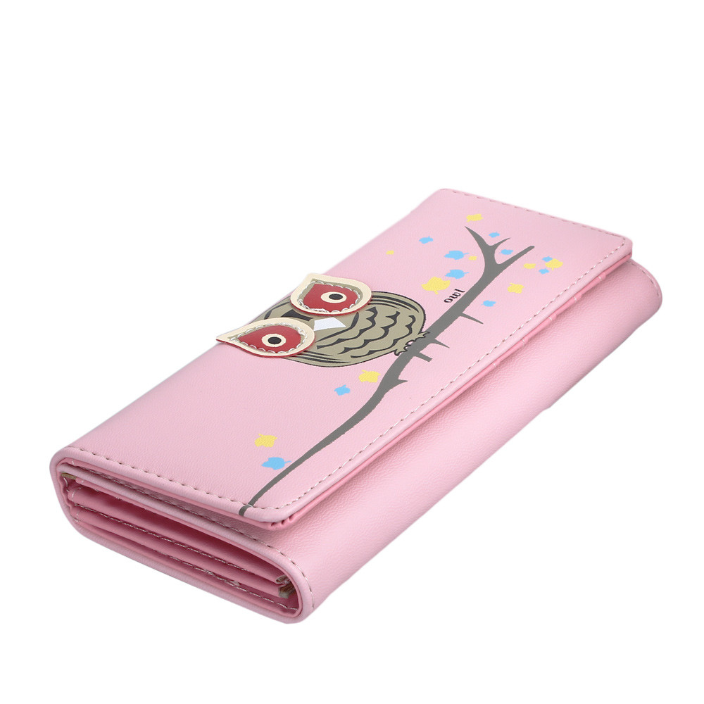 New Arrival Women Owl Ladies Wallets Female Cards Holders Candy Colors Pu Wallet Small Fresh Wallet Phone Bag carteira feminina ...