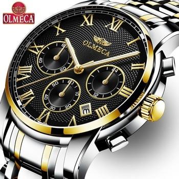 8fecaccb1445 OLMECA superior de la marca de lujo de los hombres reloj 3ATM impermeable  militar relojes Relogio reloj cronógrafo de hombre de negocios