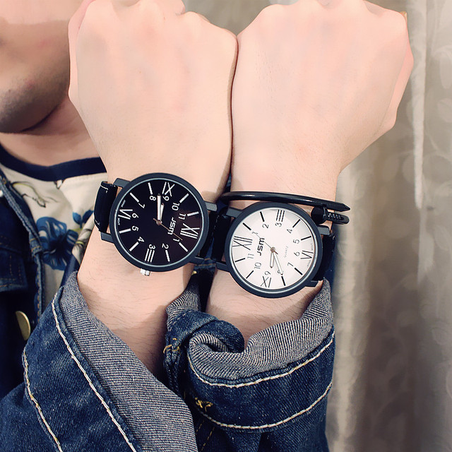 South Korea's new big dial men and women watches trendy fashion casual couple wr