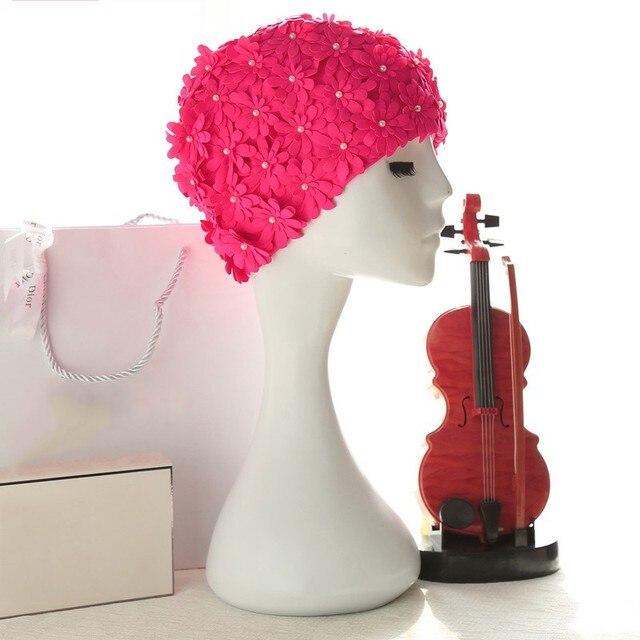 Femmes A La Main Perle Colore Imprime Maillot De Bain Fleur Bonnet