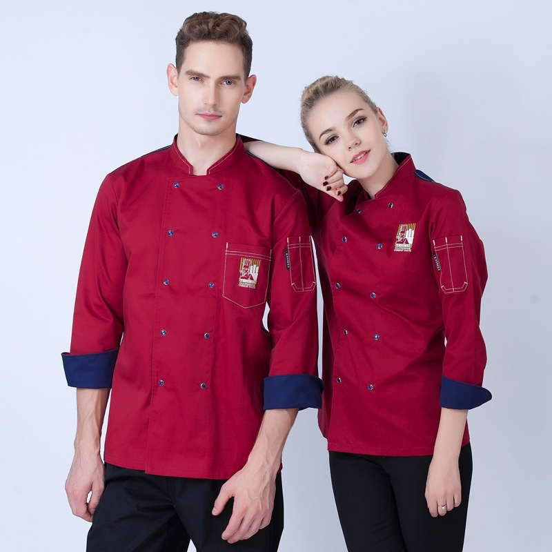 Restaurant Chef Uniform Long Sleeve Adult New Autumn And Winter Kitchen Equipment Wear Uniforms Male Chef Jacket  B-5923