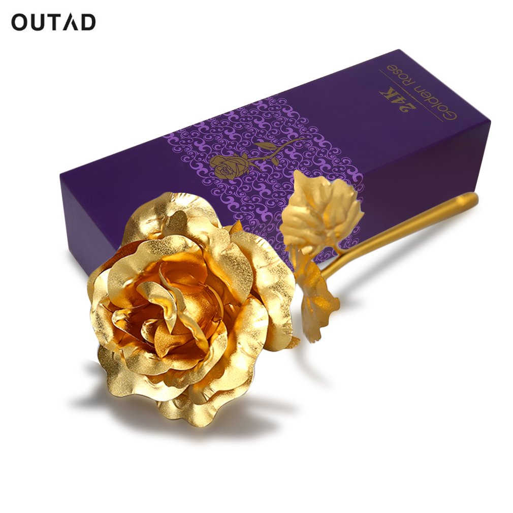 OUTAD Valentine's Day Present Gift 24K Gold Plated Golden Rose Flower Holiday Wedding Party Decoration With Retailed Box