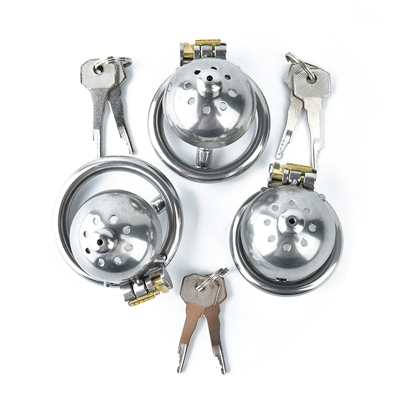 3Sizes Prison Bird 304 Stainless Steel Male Chastity Device Super Small Short Cock Cage With Stealth Lock Ring Toy