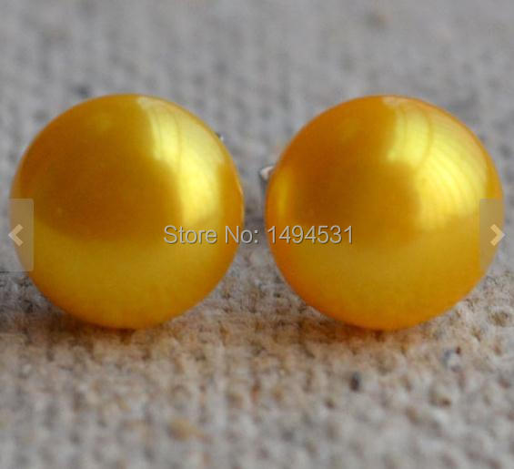 Christmas Gift Jewelry Pearl Jewelry AAA 8-8.5MM Golden Yellow Color Freshwater Pearl Stud Earrings 925 Sterling Silver Jewelry