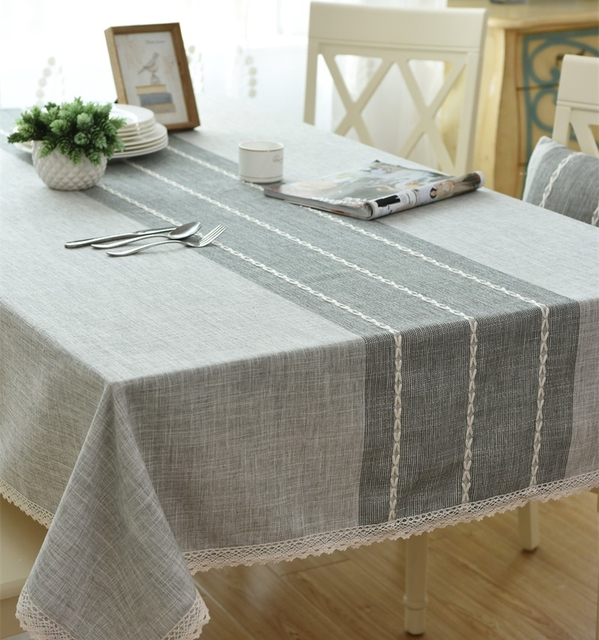 Japanese Solid Color Stripes Cotton And Linen Tablecloth Modern Simple Table  Cloth Table