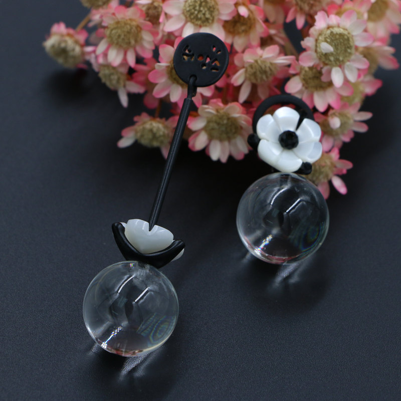 Black Painting Acrylic <font><b>Flower</b></font> Transparent Glass Beads Asymmetry Long Dangle Earrings 925 Sterling Silver Needle for Women