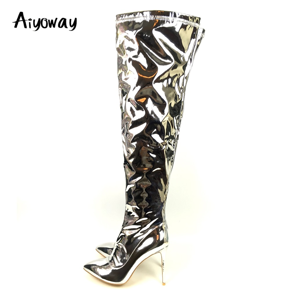 Aiyoway femmes Sexy sur les bottes au genou or argent métallique miroir en cuir verni hiver bout pointu chaussures à talons hauts