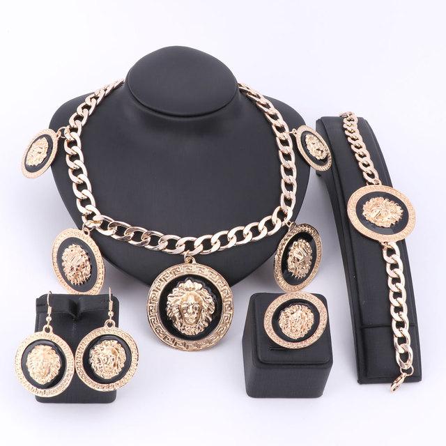 O Projeto original Da Moda Traje Africano Jóias Conjuntos Dubai Banhado A Ouro Conjuntos de Jóias Rounded Esmalte Colar de Cabeça de Leão Para As Mulheres