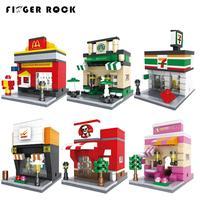 Finger Rock City Series Mini Street Model Store Shop With Minifigure Apple Store McDonald S Building