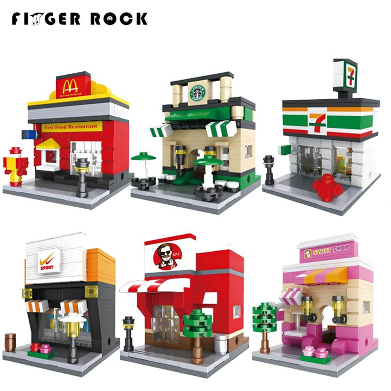 Finger Rock 26 Styles City Mini Street Series With figures DIY Building Blocks Bricks Toys Models Apple Store McDonald`s Gift
