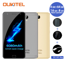 Oukitel k6000 plus mobile téléphones mtk6750t octa core 64g rom 4g ram avant d'empreintes digitales 6080 mah android celllphone 16 mp