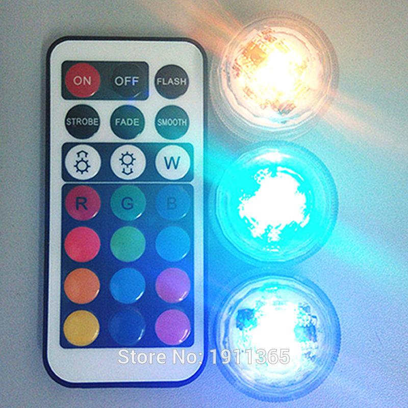 40pcs fjernkontroll nedsenkbar LED Party Tea Table Mini Light med batteri Christmas Vase Hookah Halloween Wedding Decor