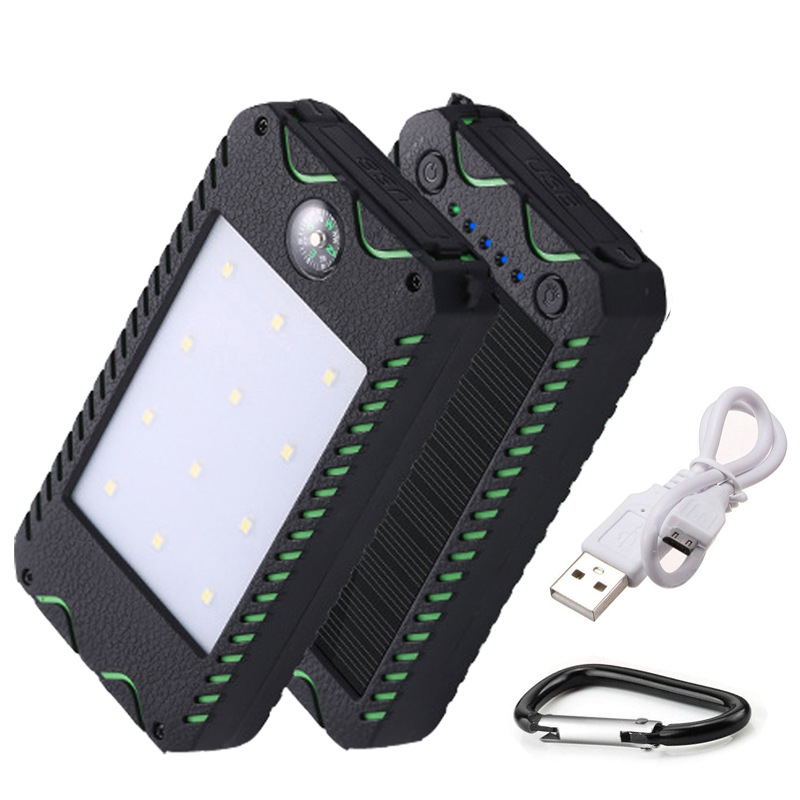 New 10000mAh Solar Charger Portable Solar Power Bank Outdoors Emergency External Battery for Mobile Phone Tablets Light