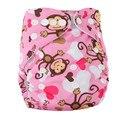 Marca Capa de Fralda Do Bebê De Bambu Veludo Equipado Fralda Lavável Fralda de Bebê Da Marca Animais Imprimir Reutilizáveis Fraldas de Pano Do Bebê