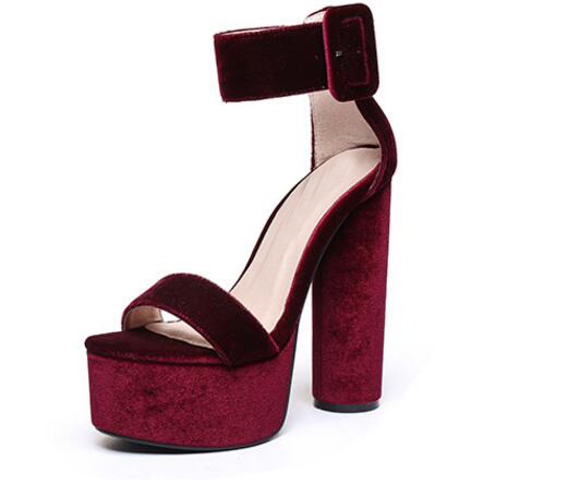 77b95beee5b US $59.0  2017 hot selling wine red velvet platform high heel sandal summer  open toe ankle strap thick heels sandal super high sandal -in Women's ...