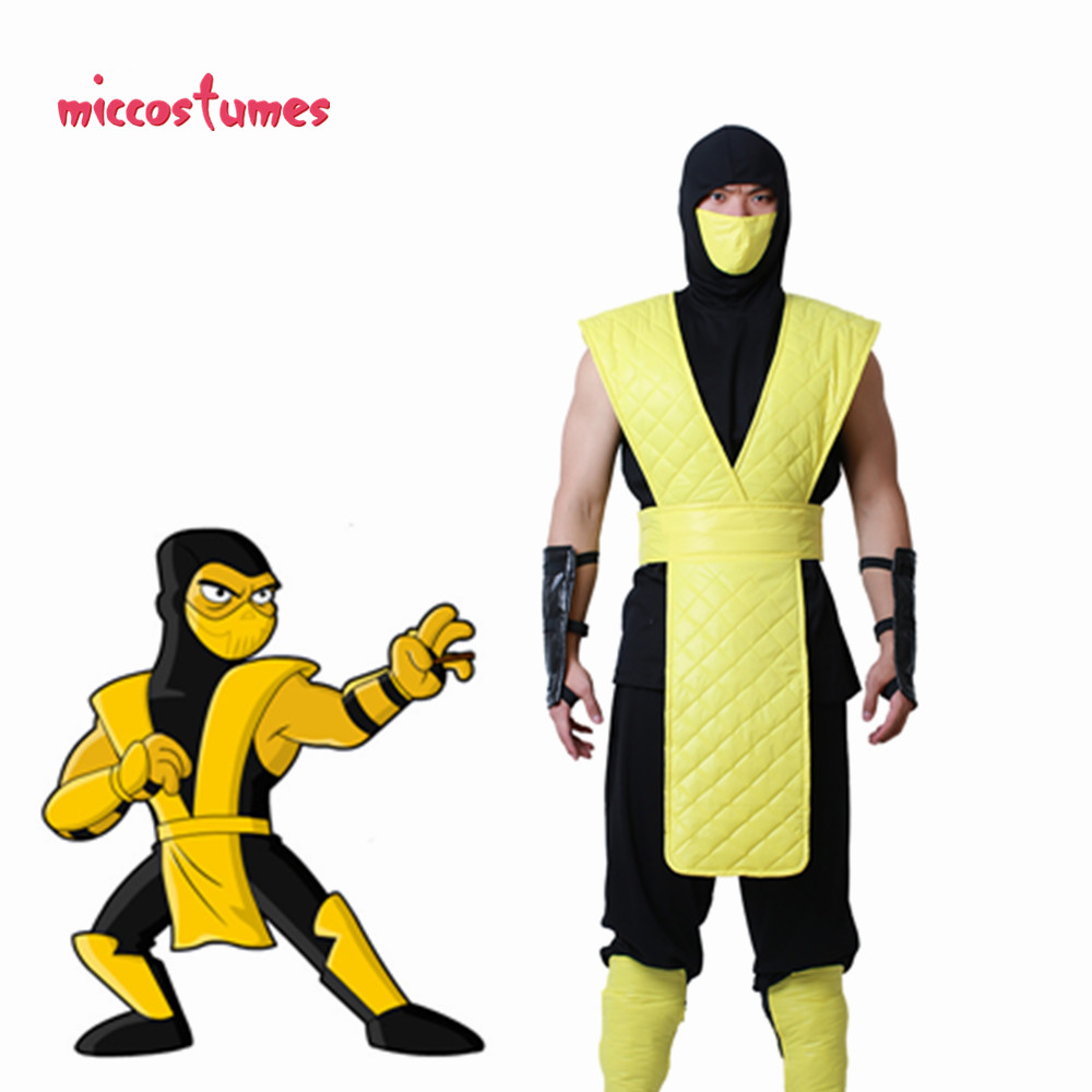 Mortal Kombat Scorpion Cosplay Costume with Mask for Adult Men