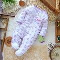 Nuevo 2017 otoño primavera ropa niños de manga larga mono mameluco del bebé recién nacido lindo imprimir desgaste general del bebé
